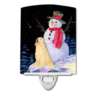 Buy this Snowman with Golden Retriever Ceramic Night Light SS8951CNL