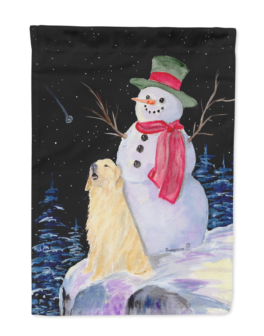 Snowman with Golden Retriever Flag Garden Size by Caroline's Treasures