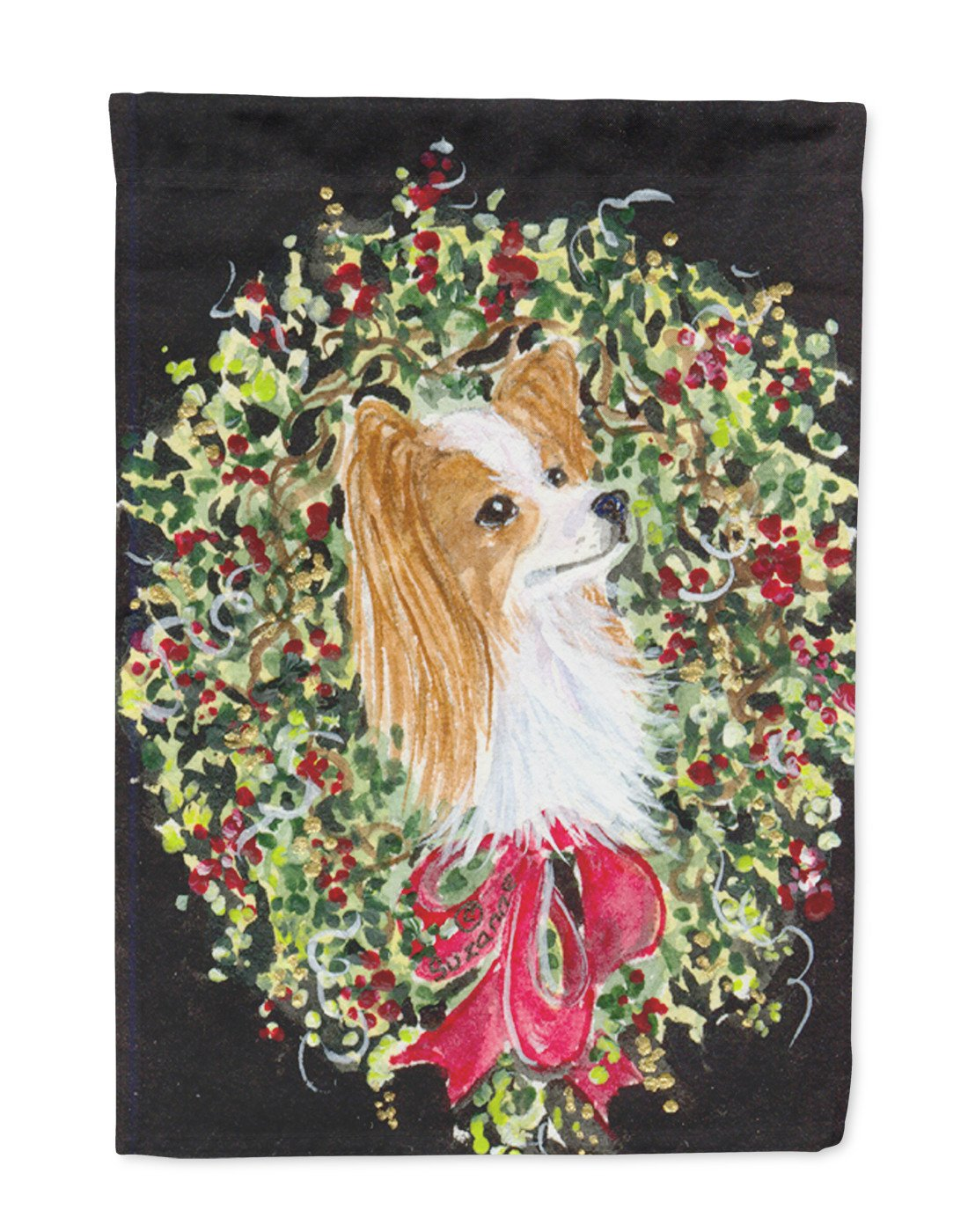 Christmas Wreath Papillon Flag Garden Size - the-store.com