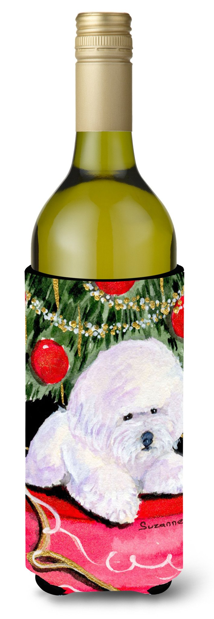 Christmas Tree with  Bichon Frise Wine Bottle Beverage Insulator Beverage Insulator Hugger by Caroline's Treasures