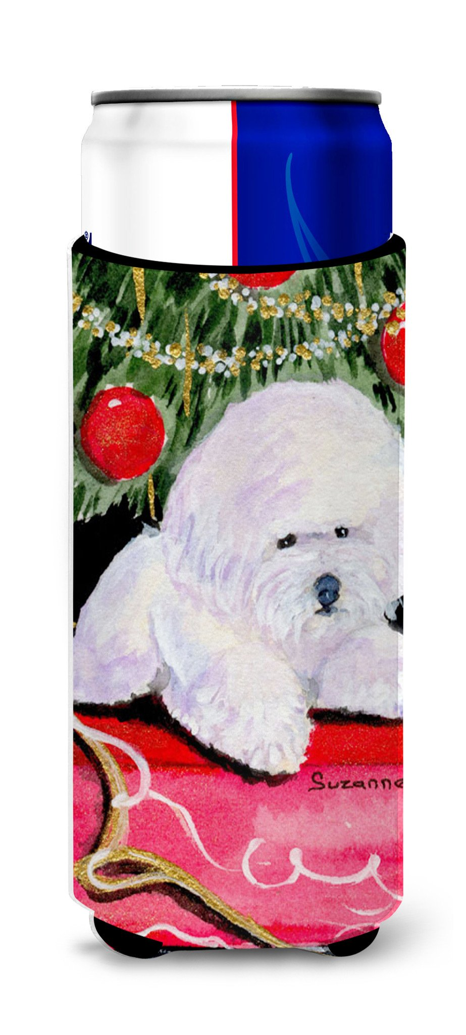 Christmas Tree with  Bichon Frise Ultra Beverage Insulators for slim cans SS8957MUK by Caroline's Treasures