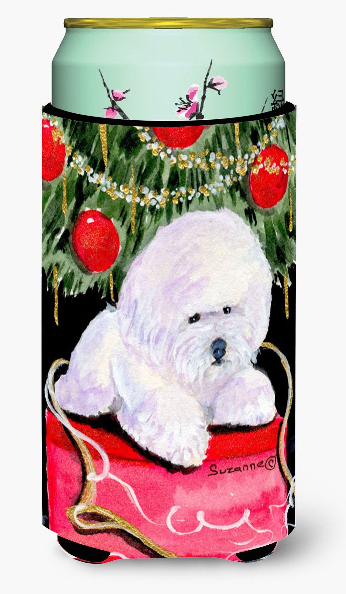 Christmas Tree with  Bichon Frise  Tall Boy Beverage Insulator Beverage Insulator Hugger by Caroline's Treasures