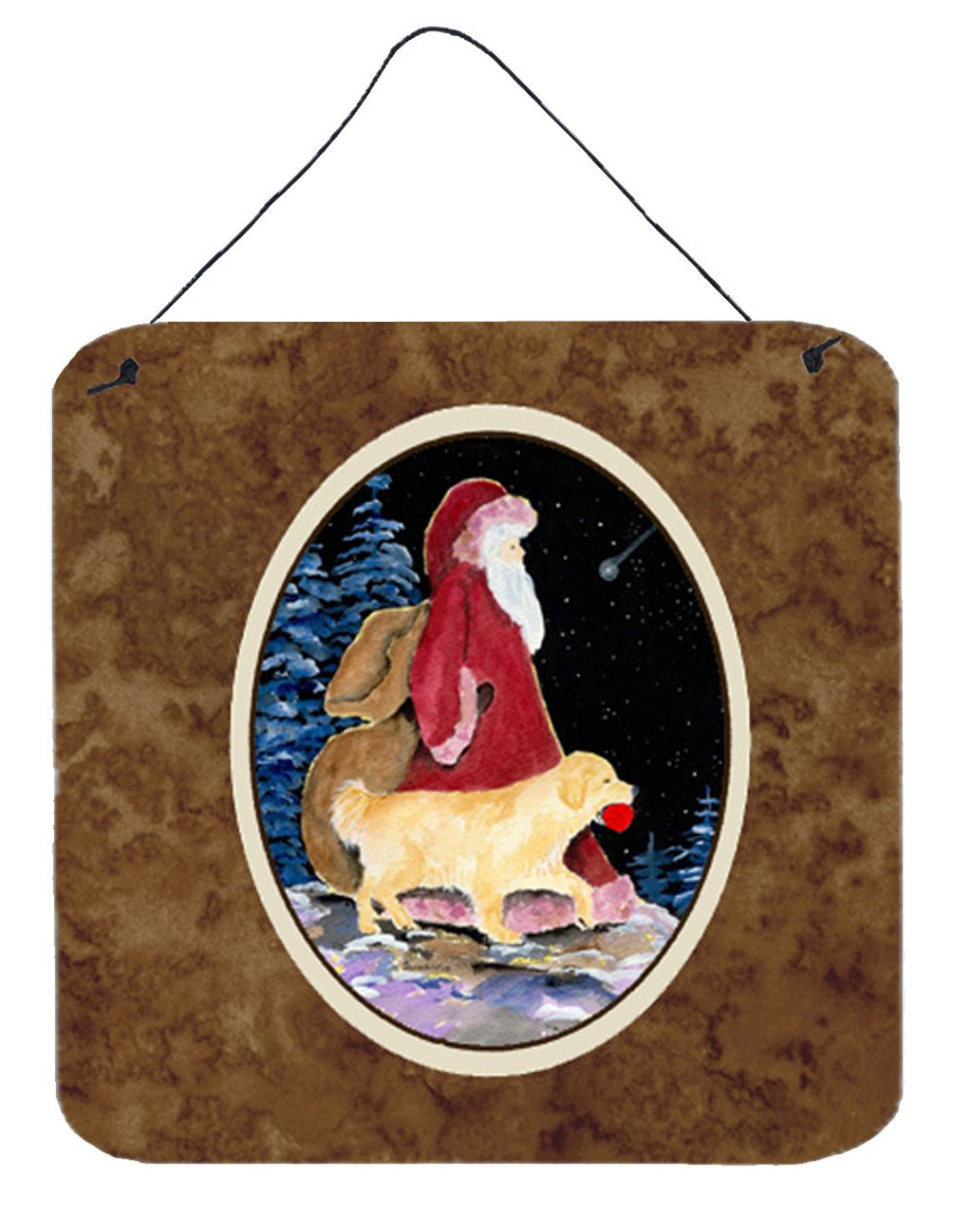 Santa Claus with  Golden Retriever Aluminium Metal Wall or Door Hanging Prints by Caroline's Treasures