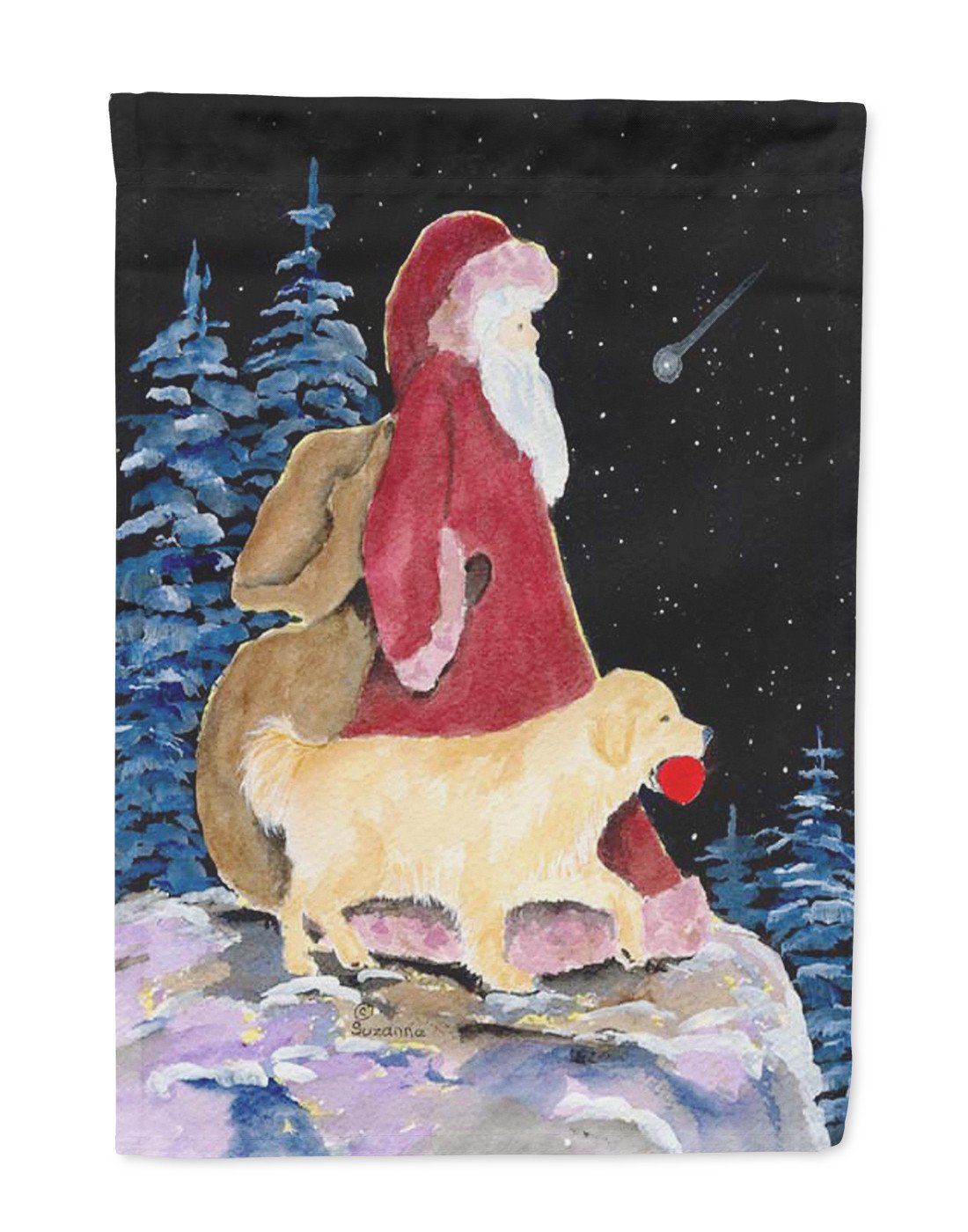 Santa Claus with  Golden Retriever Flag Garden Size by Caroline's Treasures