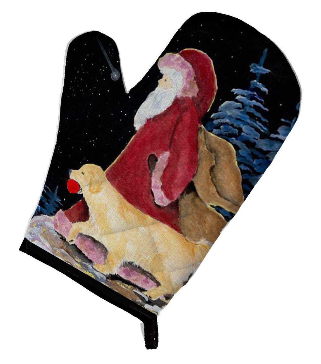 Santa Claus with  Golden Retriever Oven Mitt SS8973OVMT by Caroline's Treasures
