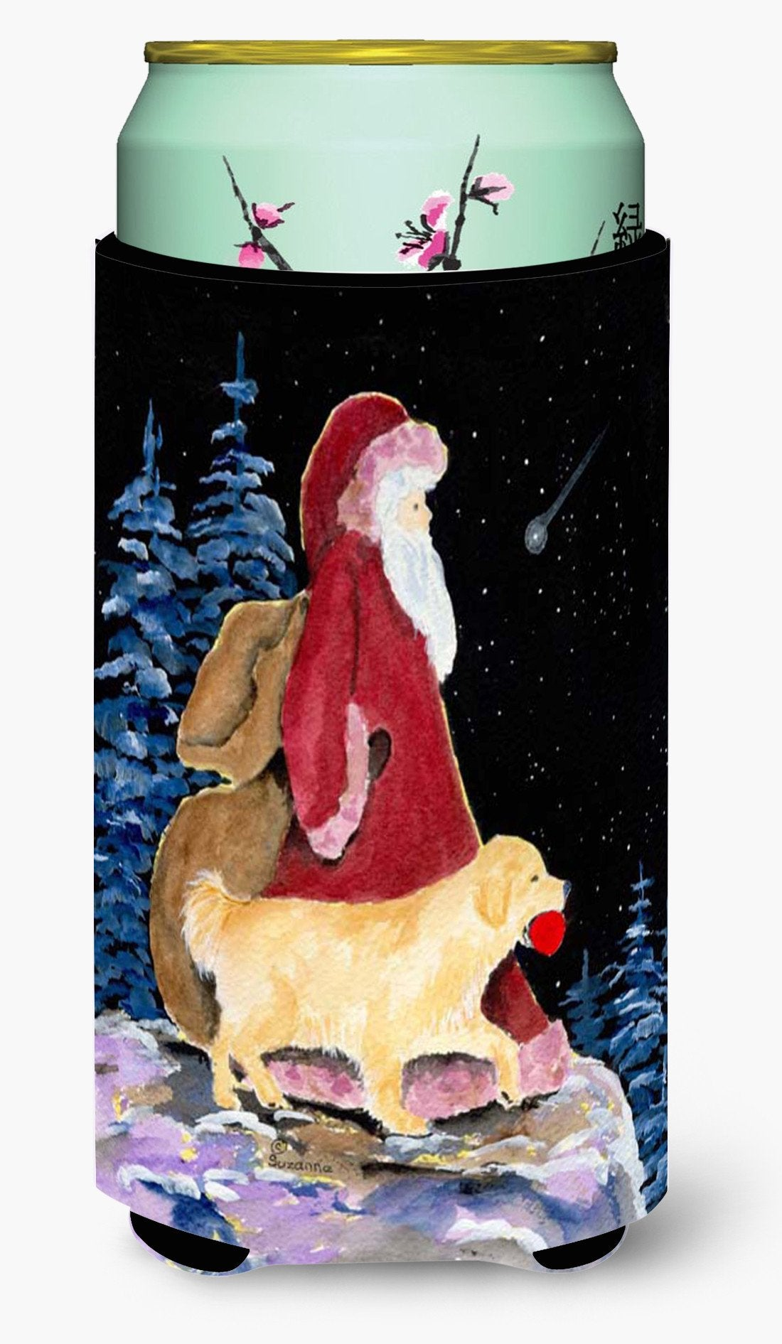 Santa Claus with  Golden Retriever  Tall Boy Beverage Insulator Beverage Insulator Hugger by Caroline's Treasures