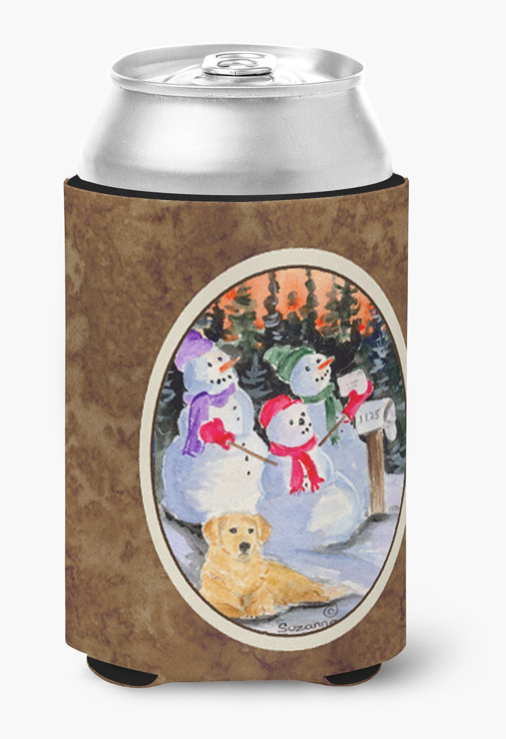 Snowman with Golden Retriever Can or Bottle Beverage Insulator Hugger by Caroline's Treasures
