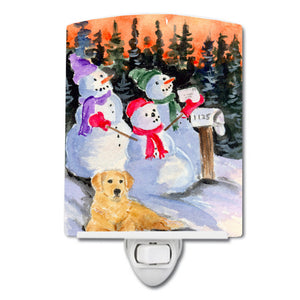 Buy this Snowman with Golden Retriever Ceramic Night Light SS8989CNL