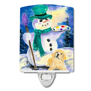 Buy this Snowman with Golden Retriever Ceramic Night Light SS8994CNL