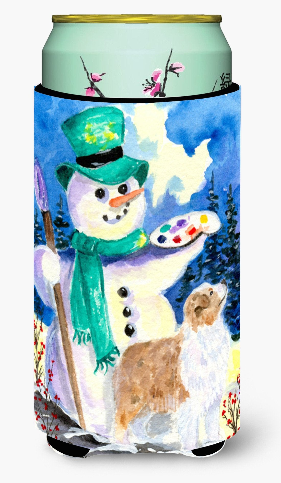 Snowman with Australian Shepherd  Tall Boy Beverage Insulator Beverage Insulator Hugger by Caroline's Treasures