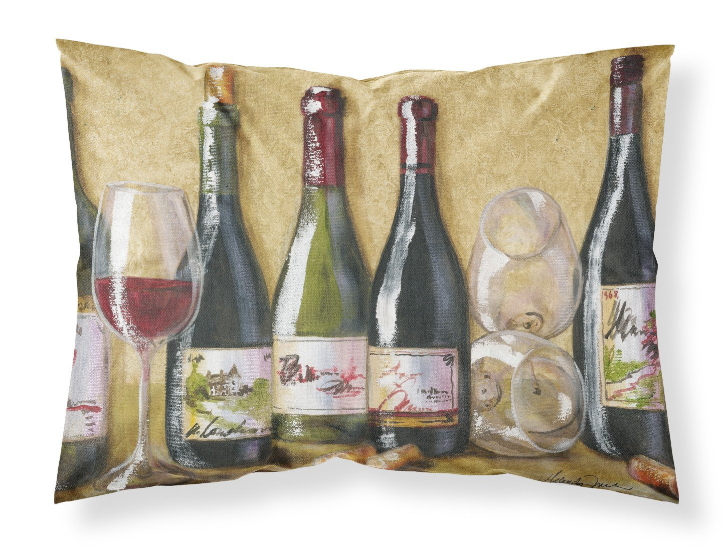 Wine Du Vin by Malenda Trick Fabric Standard Pillowcase TMTR0271PILLOWCASE by Caroline's Treasures