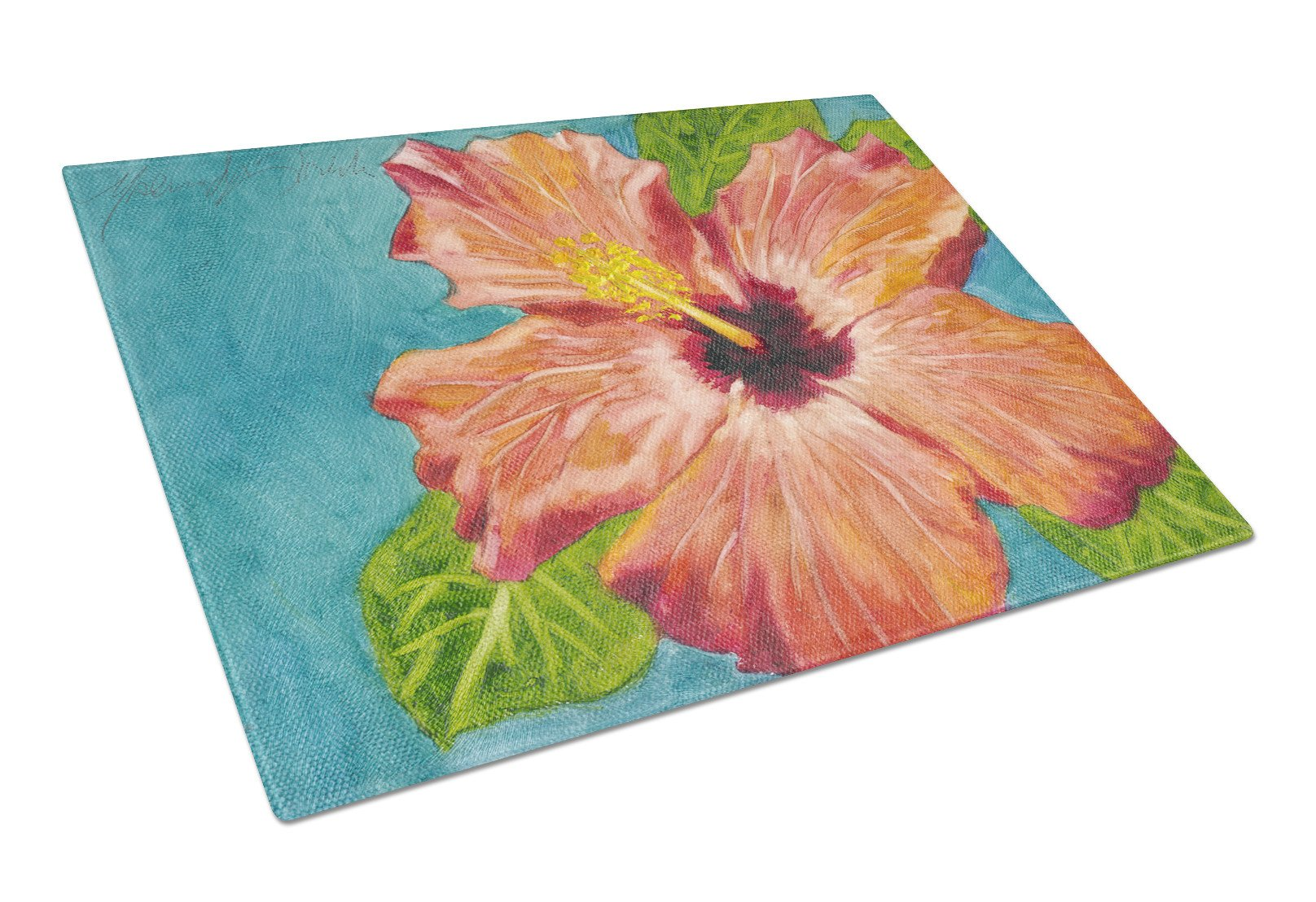 Coral Hibiscus by Malenda Trick Glass Cutting Board Large TMTR0316LCB - the-store.com
