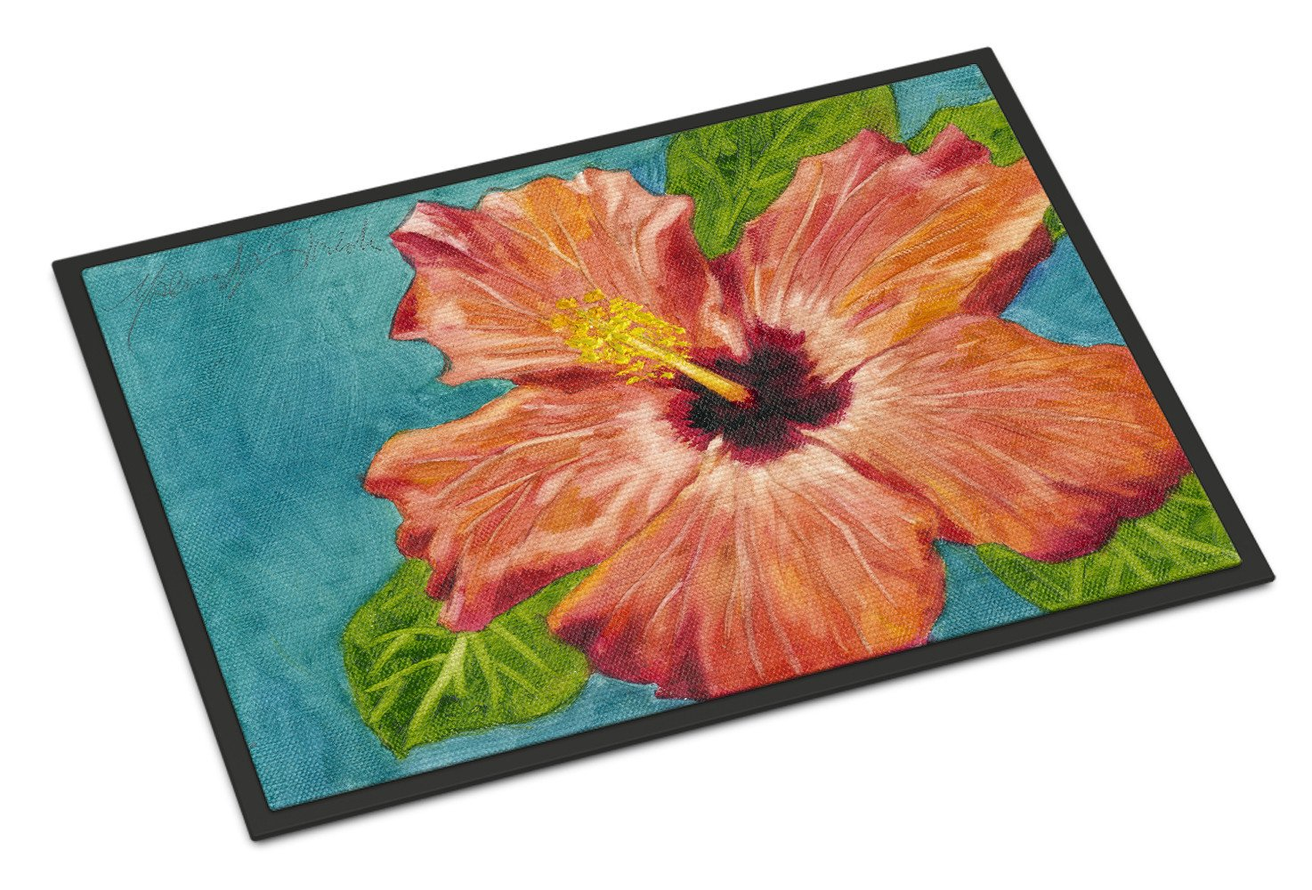 Coral Hibiscus by Malenda Trick Indoor or Outdoor Mat 18x27 TMTR0316MAT by Caroline's Treasures