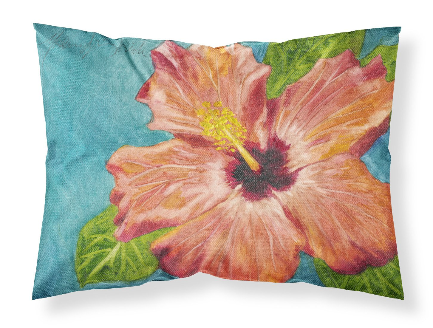 Coral Hibiscus by Malenda Trick Fabric Standard Pillowcase TMTR0316PILLOWCASE by Caroline's Treasures