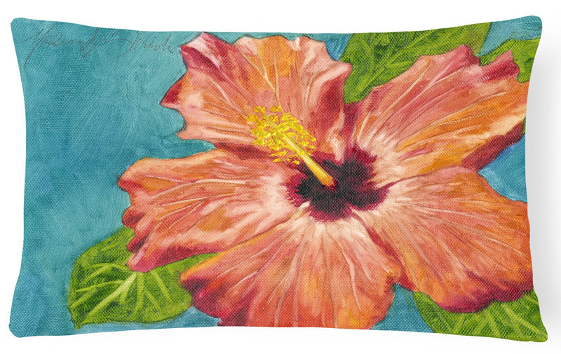Coral Hibiscus by Malenda Trick Fabric Decorative Pillow TMTR0316PW1216 - the-store.com