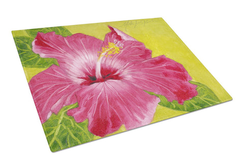 Buy this Hot Pink Hibiscus by Malenda Trick Glass Cutting Board Large TMTR0317LCB