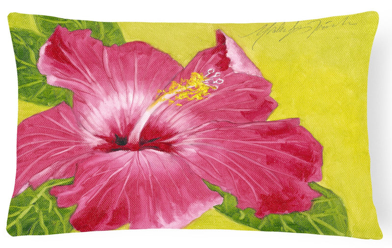 Buy this Hot Pink Hibiscus by Malenda Trick Fabric Decorative Pillow TMTR0317PW1216