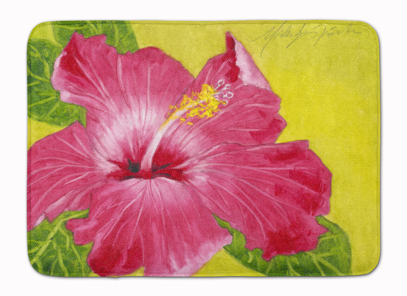 Hot Pink Hibiscus by Malenda Trick Machine Washable Memory Foam Mat TMTR0317RUG by Caroline's Treasures