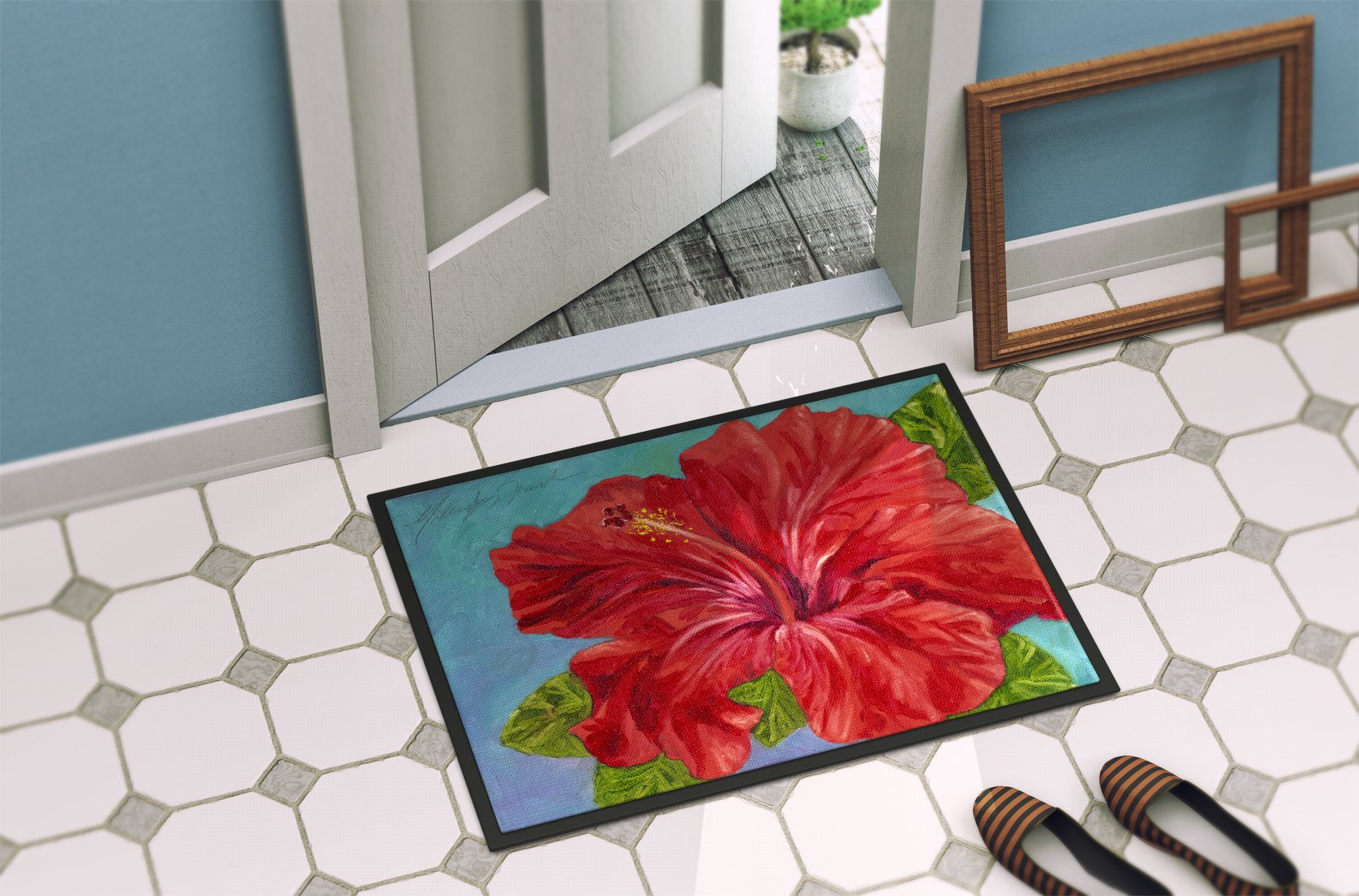 Red Hibiscus by Malenda Trick Indoor or Outdoor Mat 24x36 TMTR0319JMAT by Caroline's Treasures