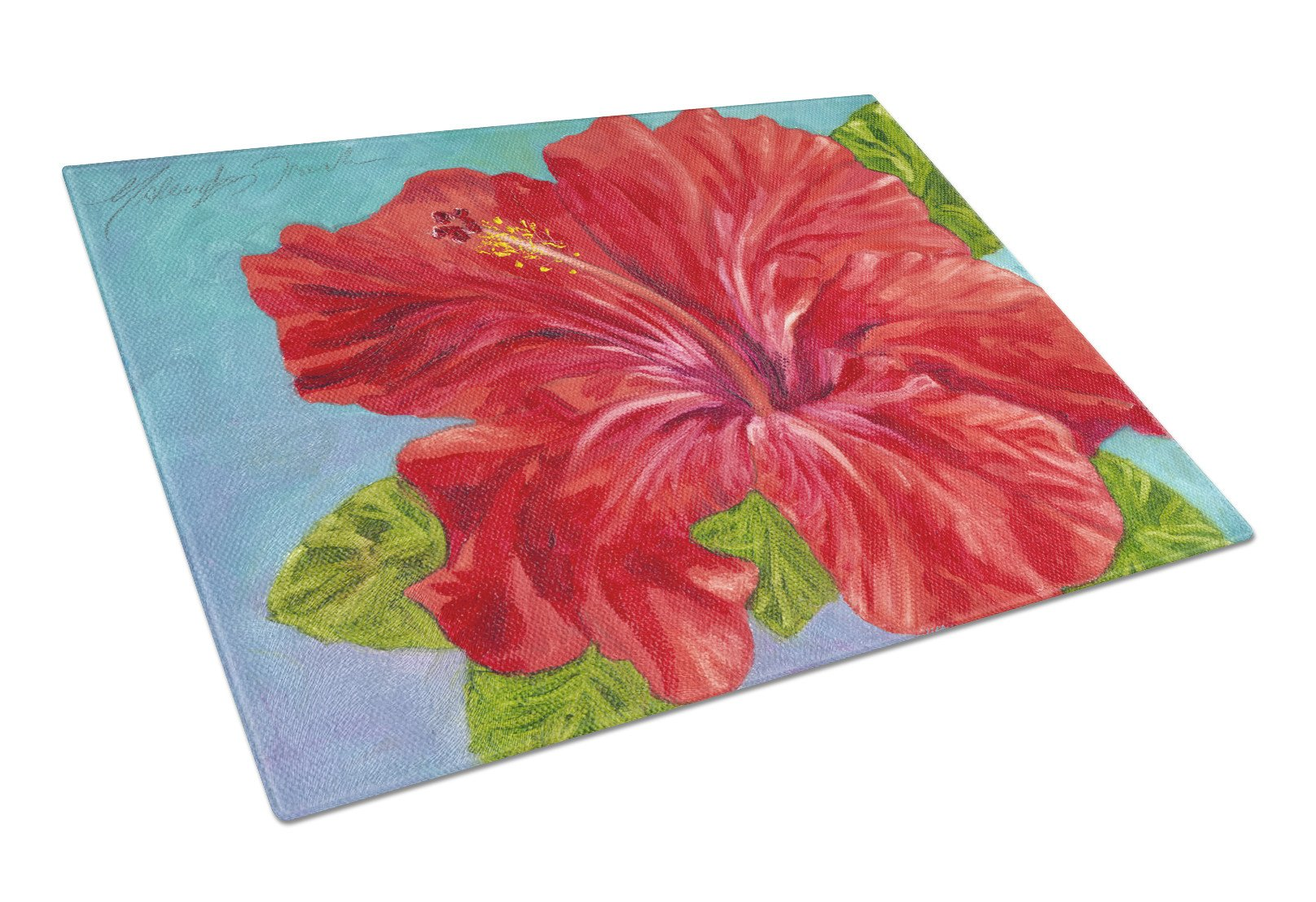 Buy this Red Hibiscus by Malenda Trick Glass Cutting Board Large TMTR0319LCB