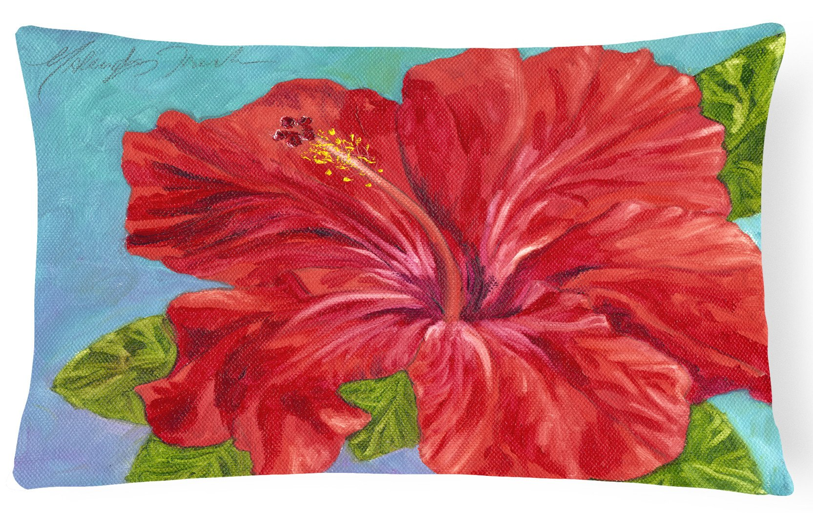 Buy this Red Hibiscus by Malenda Trick Fabric Decorative Pillow TMTR0319PW1216