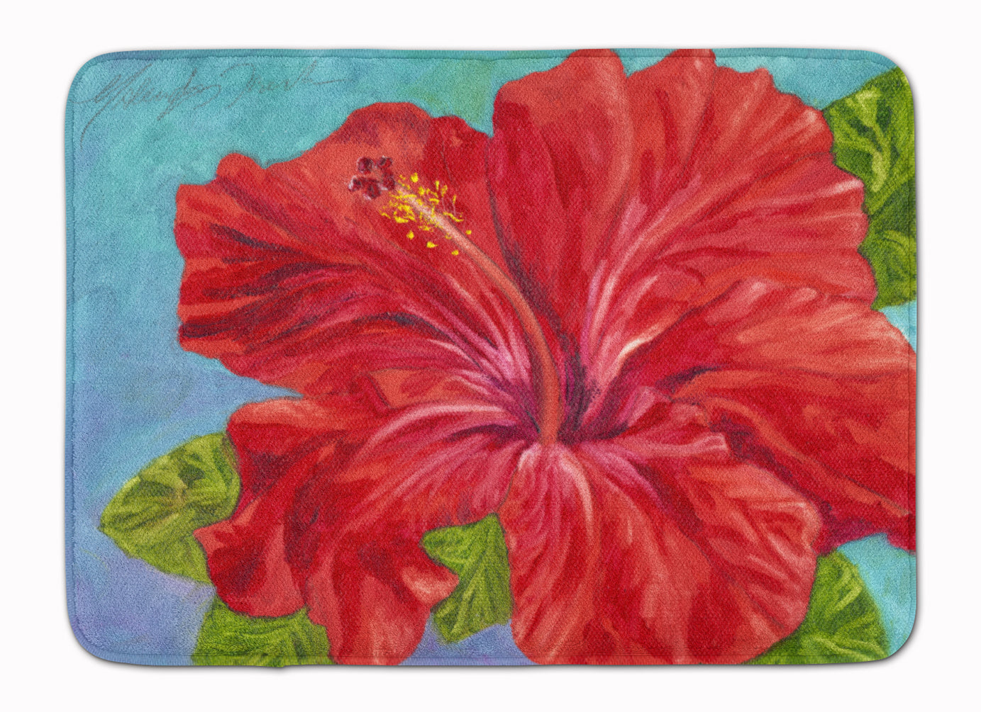 Red Hibiscus by Malenda Trick Machine Washable Memory Foam Mat TMTR0319RUG by Caroline's Treasures