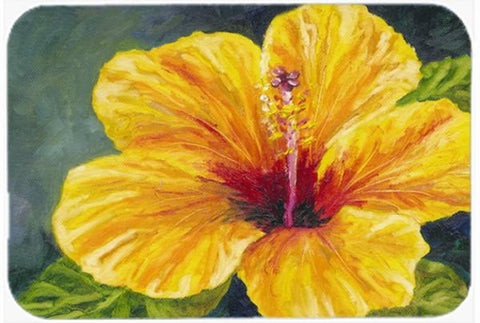 Buy this Yellow Hibiscus by Malenda Trick Glass Cutting Board Large TMTR0321LCB