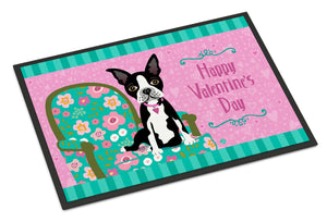 Buy this Happy Valentine's Day Boston Terrier Indoor or Outdoor Mat 24x36 VHA3001JMAT
