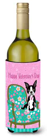Buy this Happy Valentine's Day Boston Terrier Wine Bottle Beverage Insulator Hugger VHA3001LITERK