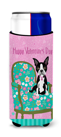 Buy this Happy Valentine's Day Boston Terrier Ultra Beverage Insulators for slim cans VHA3001MUK