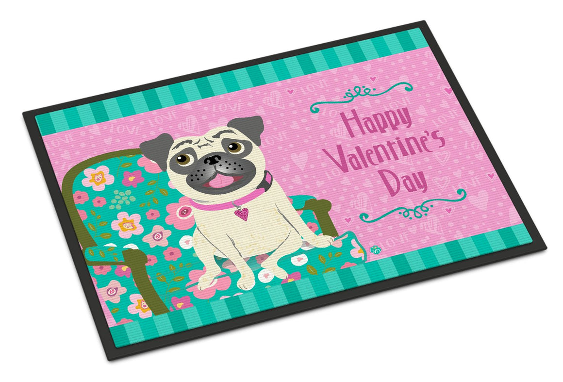 Buy this Happy Valentine's Day Pug Indoor or Outdoor Mat 24x36 VHA3002JMAT