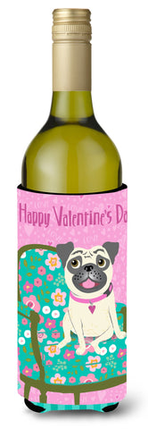 Buy this Happy Valentine's Day Pug Wine Bottle Beverage Insulator Hugger VHA3002LITERK