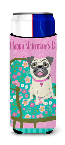 Buy this Happy Valentine's Day Pug Ultra Beverage Insulators for slim cans VHA3002MUK