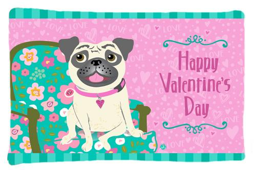 Buy this Happy Valentine's Day Pug Fabric Standard Pillowcase