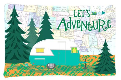 Buy this Let's Adventure Glamping Trailer Fabric Standard Pillowcase