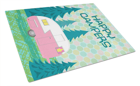 Buy this Happy Campers Glamping Trailer Glass Cutting Board Large VHA3004LCB
