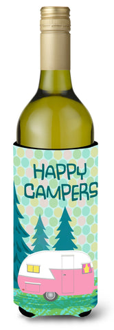 Buy this Happy Campers Glamping Trailer Wine Bottle Beverage Insulator Hugger VHA3004LITERK