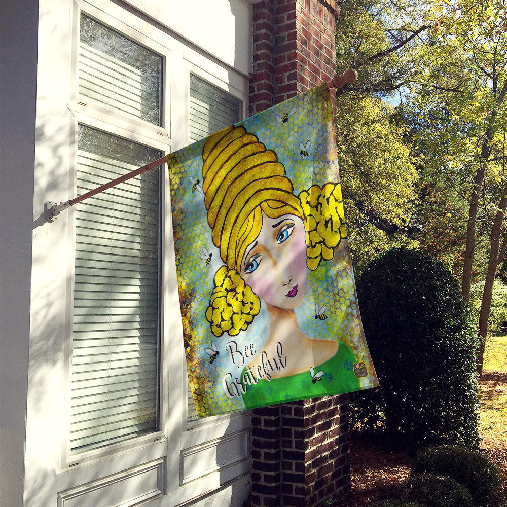 Bee Grateful Girl with Beehive Flag Canvas House Size VHA3008CHF by Caroline's Treasures