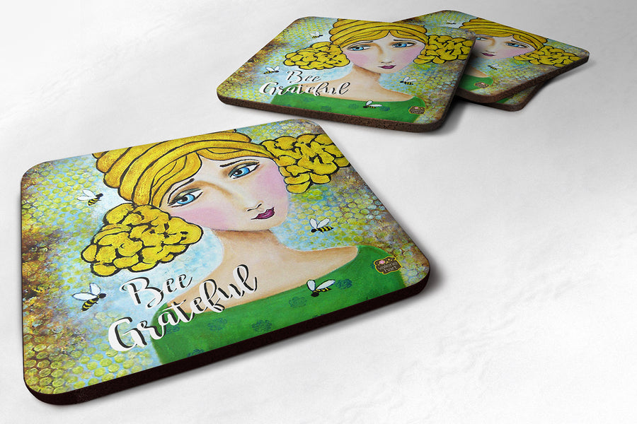 Buy this Set of 4 Bee Grateful Girl with Beehive Foam Coasters VHA3008FC