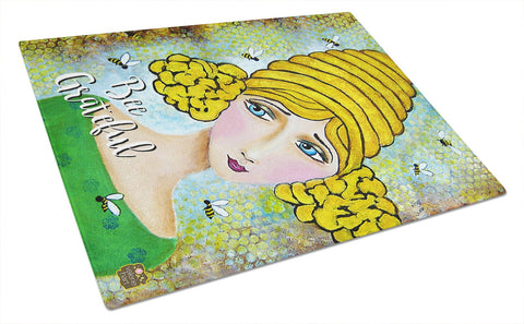 Buy this Bee Grateful Girl with Beehive Glass Cutting Board Large VHA3008LCB