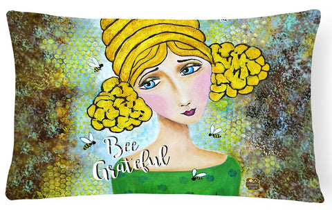 Buy this Bee Grateful Girl with Beehive Canvas Decorative Pillow VHA3008PW1216