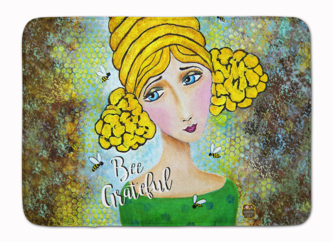 Bee Grateful Girl with Beehive Machine Washable Memory Foam Mat VHA3008RUG by Caroline's Treasures