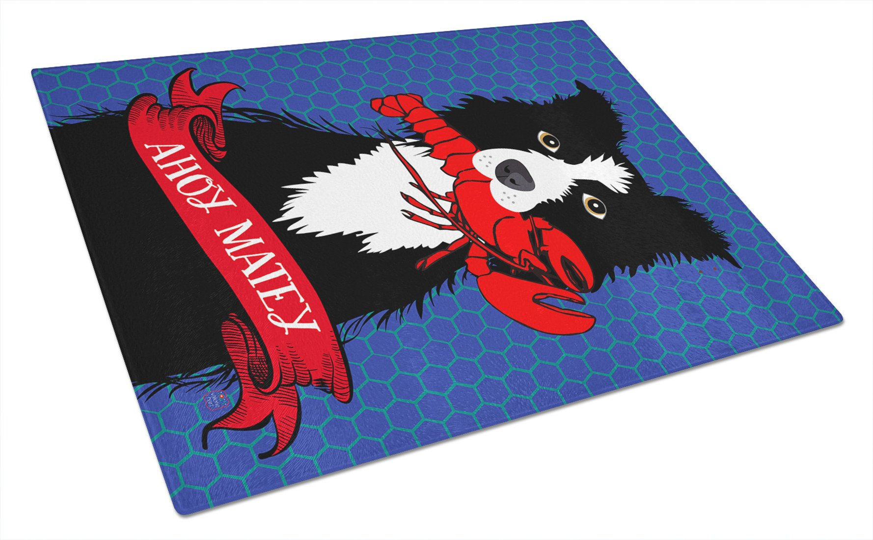Ahoy Matey Nautical Border Collie Glass Cutting Board Large VHA3011LCB by Caroline's Treasures