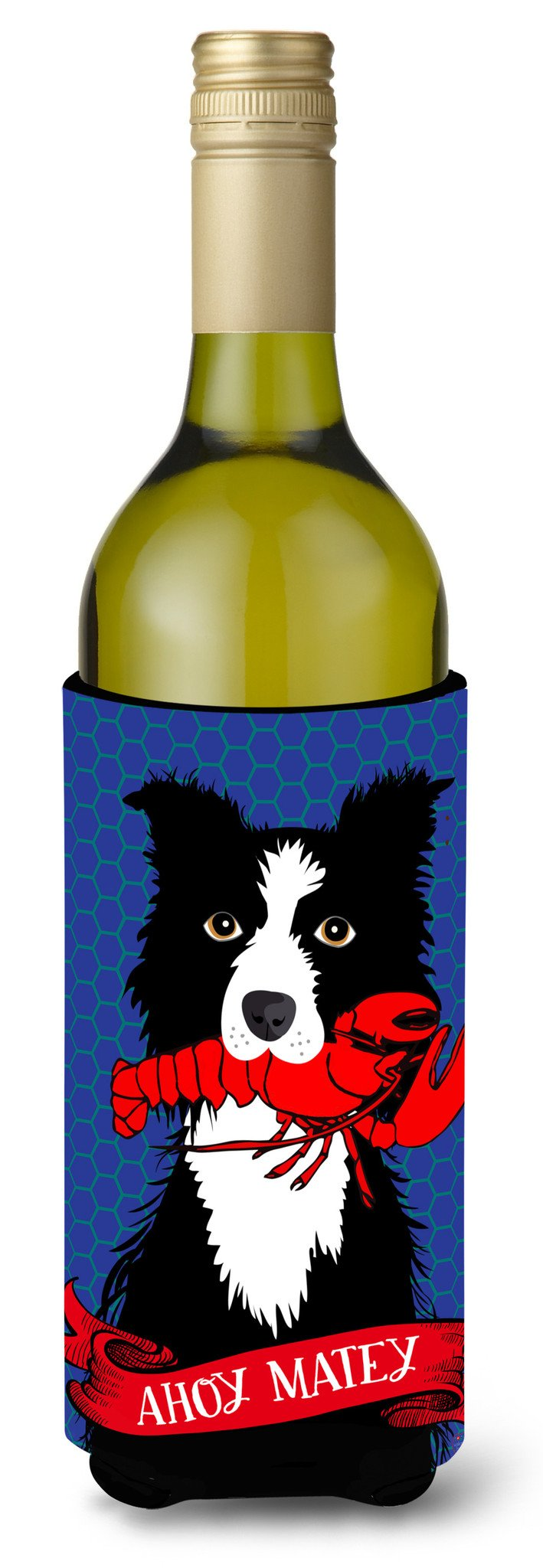 Ahoy Matey Nautical Border Collie Wine Bottle Beverage Insulator Hugger VHA3011LITERK by Caroline's Treasures