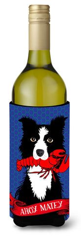 Buy this Ahoy Matey Nautical Border Collie Wine Bottle Beverage Insulator Hugger VHA3011LITERK