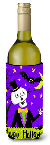 Buy this Happy Halloween Skeleton Wine Bottle Beverage Insulator Hugger VHA3014LITERK