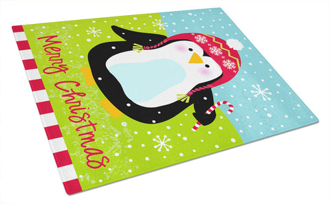 Buy this Merry Christmas Happy Penguin Glass Cutting Board Large VHA3015LCB