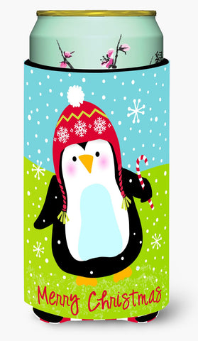 Buy this Merry Christmas Happy Penguin Tall Boy Beverage Insulator Hugger VHA3015TBC