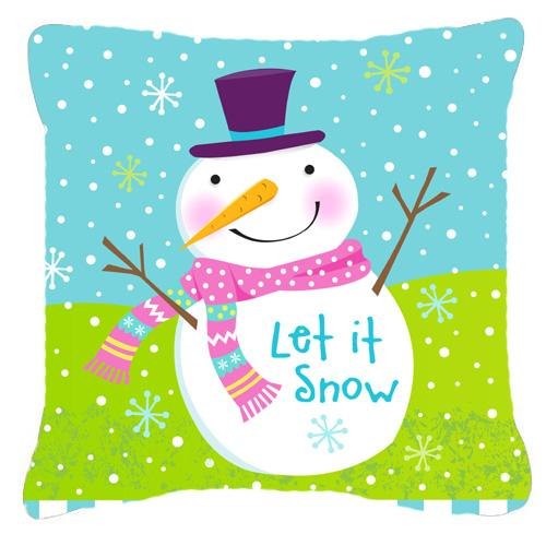 Christmas Snowman Let it Snow Fabric Decorative Pillow by Caroline's Treasures