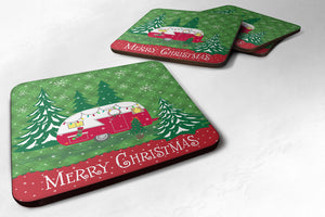 Buy this Christmas Vintage Glamping Trailer Foam Coaster Set of 4 VHA3018FC
